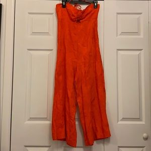 Anthropologie Orange Jumpsuit